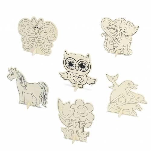 Tabla de madera con dibujos de animales para colorear