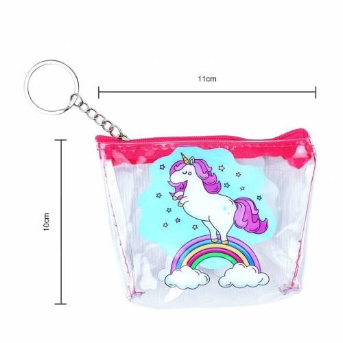 Monedero transparente de unicornio para niñas