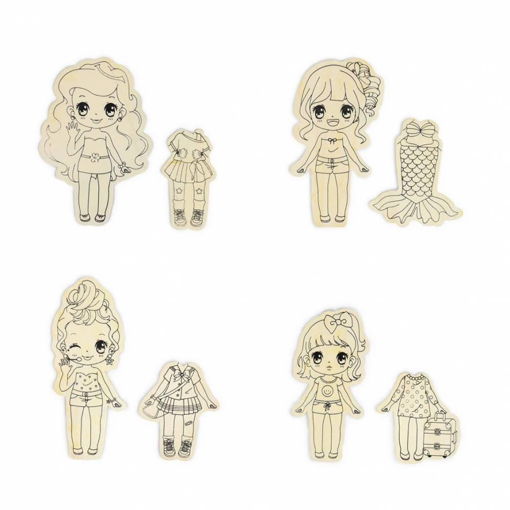 Tabla de madera con dibujos de muñecas con vestido para colorear