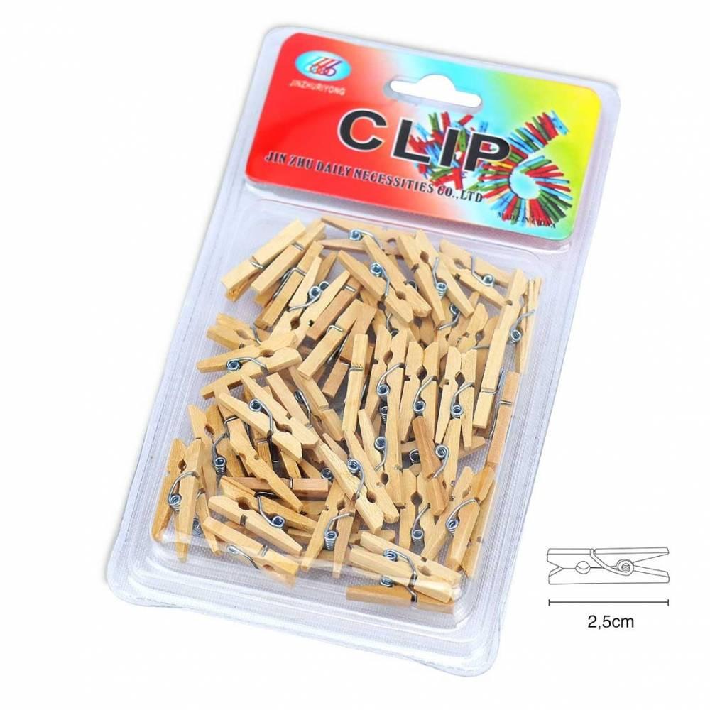 Mini pinzas de madera para manualidades (2,5cm)