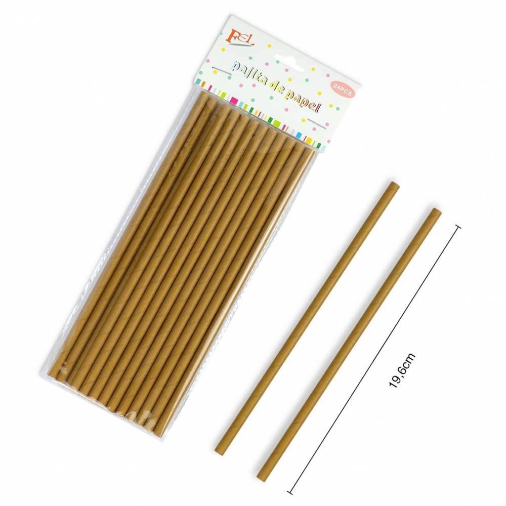 Pajitas de papel kraft 24 unidades color marron
